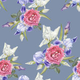 Floral seamless pattern with watercolor irises and roses. Stock Photos