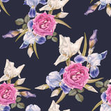 Floral seamless pattern with watercolor irises and roses Stock Images