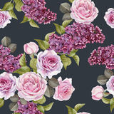 Floral seamless pattern with watercolor lilac and roses Stock Photography