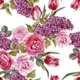 Floral seamless pattern with watercolor lilac, tulips and roses Royalty Free Stock Photos