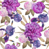Floral seamless pattern with watercolor peonies, roses and iris Royalty Free Stock Photography