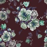 Flower seamless pattern with watercolor peonies, white roses and tulips Stock Images