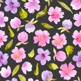 Floral seamless pattern with watercolor pink, purple flowers and green leaves Royalty Free Stock Photography
