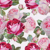 Floral seamless pattern with watercolor pink and purple roses.