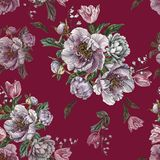 Flower seamless pattern with watercolor peonies, white roses and tulips Royalty Free Stock Photography