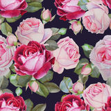 Floral seamless pattern with watercolor roses Royalty Free Stock Images