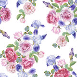 Floral seamless pattern with watercolor roses and irises Royalty Free Stock Images
