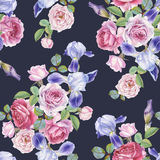 Floral seamless pattern with watercolor roses and irises Stock Photo