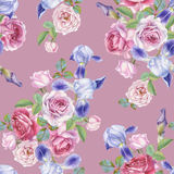Floral seamless pattern with watercolor roses and irises Royalty Free Stock Photos