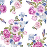 Floral seamless pattern with watercolor roses and irises. Stock Photography
