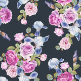 Floral seamless pattern with watercolor roses and irises Stock Photos