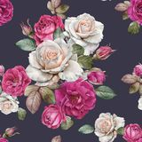 Floral seamless pattern with watercolor roses and leaves Stock Illustration