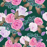 Floral seamless pattern with watercolor roses and peonies Royalty Free Stock Images