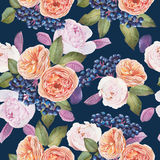 Floral seamless pattern with watercolor roses and peonies. Royalty Free Stock Photo