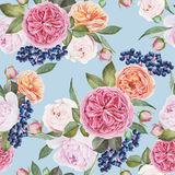 Floral seamless pattern with watercolor roses, peonies, black rowan berries on blue background Stock Photo