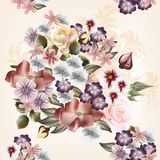 Floral  seamless pattern in watercolor style with flowers Stock Image