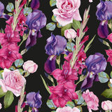 Floral seamless pattern with watercolor violet iris, purple gladiolus and pink roses Royalty Free Stock Photos