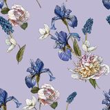Floral seamless pattern with watercolor white peonies, anemones and blue irises royalty free illustration