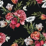 Floral seamless pattern with watercolor white peonies, anemones, red roses and tulips royalty free illustration