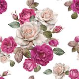 Floral seamless pattern with watercolor roses and leaves. Floral seamless pattern with watercolor white and purple roses on white background stock illustration