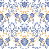 Floral seamless pattern with white flowers texture gzhel Royalty Free Stock Photos