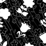 Floral seamless pattern with white silhouettes of flowers. Backg Stock Photography