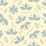 Floral seamless pattern with whitish grass and flowers. Quiet summer colors. Stock Photo