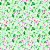 Floral seamless pattern with wild berry and branch. Watercolor hand drawn illustration.Green background Royalty Free Stock Photo