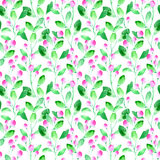 Floral seamless pattern with wild berry and branch. Watercolor hand drawn illustration.White background vector illustration