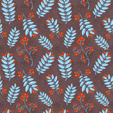 Floral seamless pattern with winter ash berry Royalty Free Stock Photos
