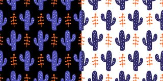 Free Floral Seamless Pattern With Colorful Hand Drawn Wild Cactus Flowers Stock Image - 113199381