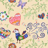 Floral Seamless Pattern With Flowers, Bird, Hearts Stock Photos
