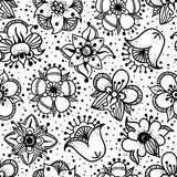 Floral Seamless Pattern With Hand Drawn Flowers Stock Images