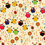 Floral Seamless Pattern With Owl And Bird Royalty Free Stock Images