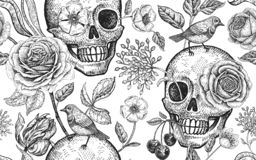 Free Floral Seamless Pattern With Symbols Of Day Dead. Skulls, Blooming Rose Flowers And Birds Royalty Free Stock Photography - 146784577