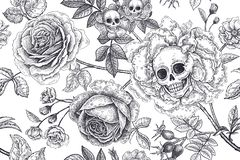 Free Floral Seamless Pattern With Symbols Of Day Dead. Skulls, Blooming Rose Flowers And Foliage Royalty Free Stock Image - 146784576