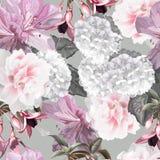 Floral seamless pattern withfunchsia,hydrangea,azalea vector illustration royalty free stock images