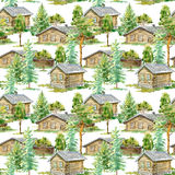 Floral seamless pattern of a wooden house, pine, spruce and deciduous tree. Royalty Free Stock Image