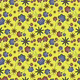 Floral Seamless Pattern on Yellow Background Royalty Free Stock Photography