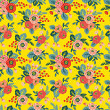Floral seamless pattern on a yellow background Royalty Free Stock Photos