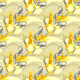 Floral seamless pattern. Yellow iris flower background. Stock Photos