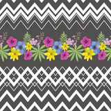 Floral Seamless Pattern with Zigzag Stripes . Stock Photos