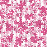 Floral seamless patterne, cartoon cute flowers  background. Floral seamless pattern in retro style, cartoon cute flowers on white background striped Stock Photography
