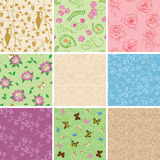 Floral seamless patterns with flowers - vector backgrounds Stock Image