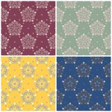 Floral seamless patterns. Set of colored backgrounds with flower elements. For textile and wallpapers Stock Photo
