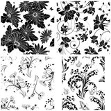 4 Floral Seamless Patterns Stock Image
