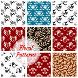 Floral seamless patterns set. Flowery background. Floral seamless patterns set of flowery decoration backgrounds. Ornate flourish decor tiles with graphic flower Royalty Free Stock Image