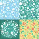 Floral seamless and round patterns set Royalty Free Stock Photography