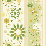 Floral seamless striped wallpaper. In green and yellow Royalty Free Stock Photo