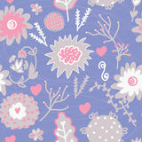Floral seamless tender pattern with hearts. And berries Royalty Free Stock Photos